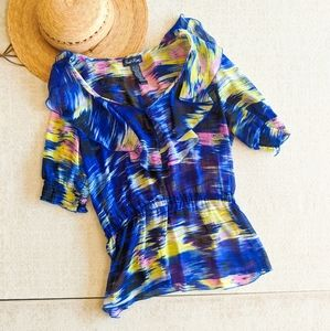 Susie Rose Multicolored Cinched Flowy Top